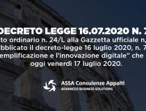 """DECRETO LEGGE 16.07.2020 N. 76, """"Decreto semplificazioni"""""""